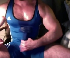 Wank in Wrestling Singlet